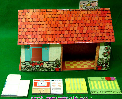 Colorful 1960s Pop Up Instant Doll Play House With Furniture