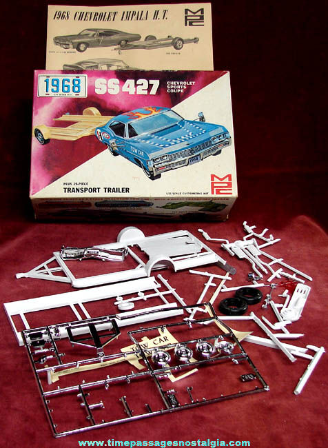 1968 Chevrolet Impala SS427 MPC Model Kit Box & Parts