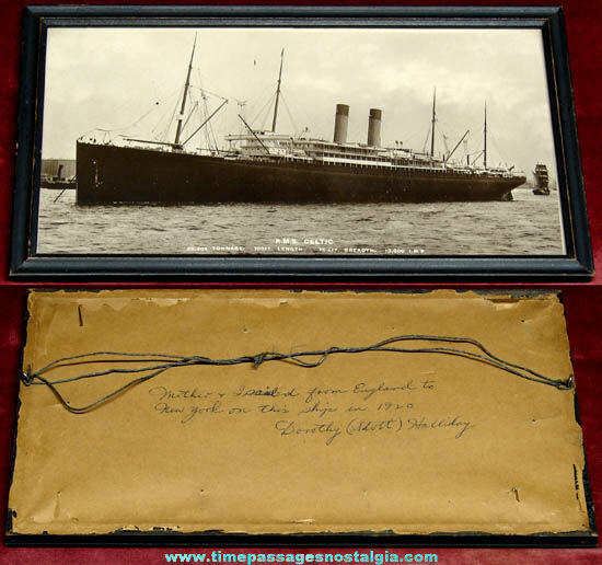 Framed 1920 R.M.S. Celtic Steam Ship Photograph