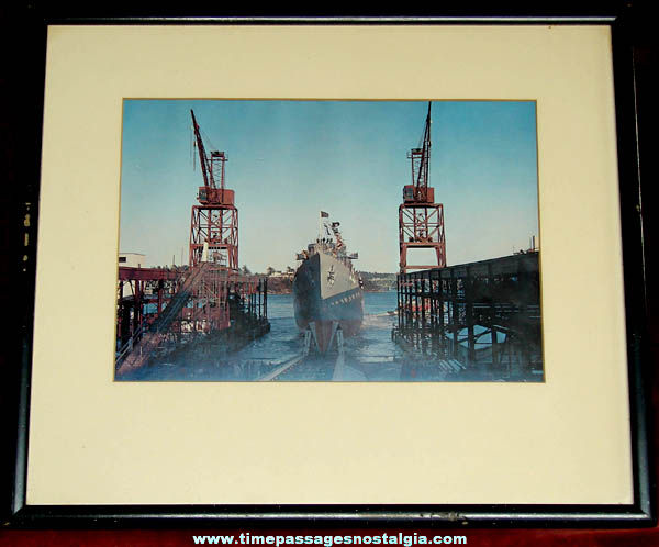 1958 U.S.S. Dewey DLG-14 United States Navy Ship Launching Framed Picture