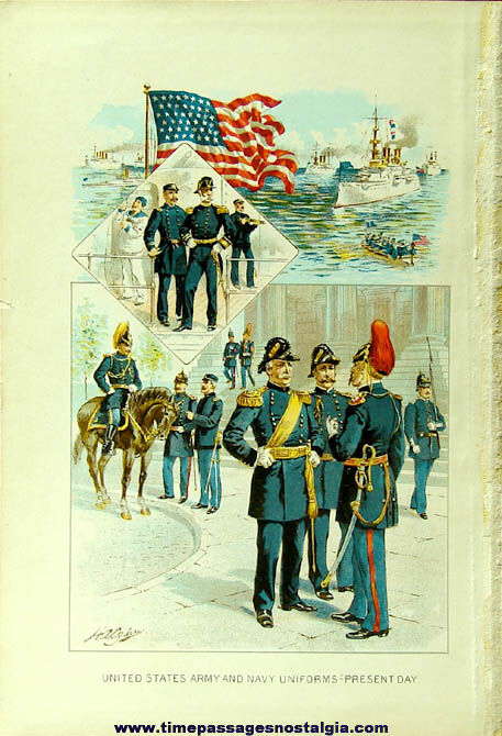 1800s United States Army & Navy Military Uniforms Color Print