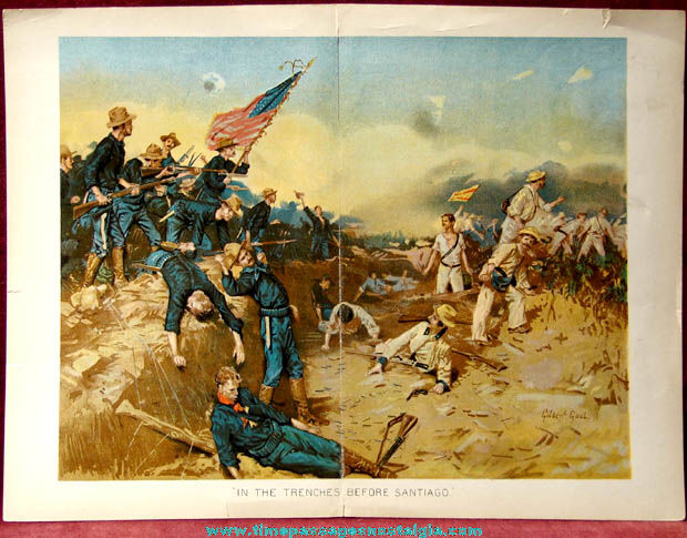 1800s United States Army Spanish American War Color Print