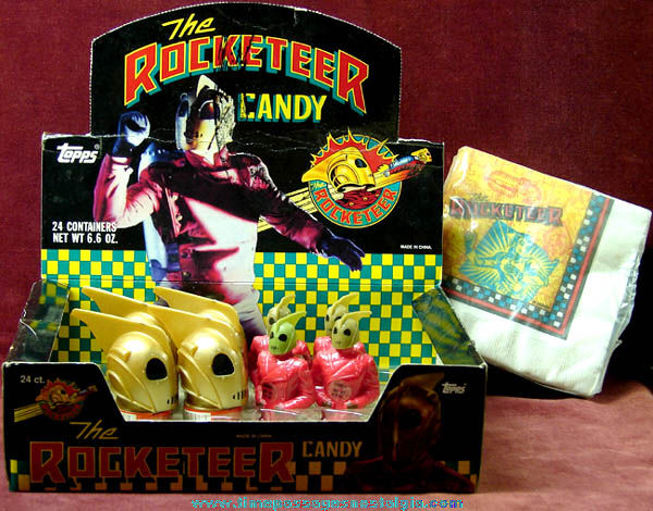 Old Rocketeer Candy Store Display Box With (8) Unopened Candy Containers + Bonus