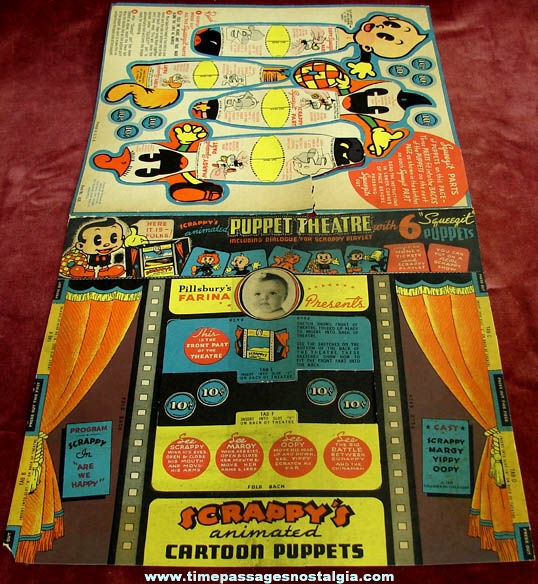 1936 Pillsbury Farina Cereal Advertising Premium Scrappy Comic Character Puppet Theatre Kit