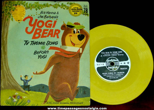 ©1961 Hanna Barbera Yogi Bear Little Golden Record With Sleeve