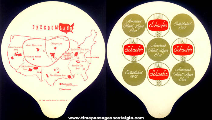 Unused 1960s Schaefer Beer Freedomland Amusement Park Advertising Premium Souvenir Fan