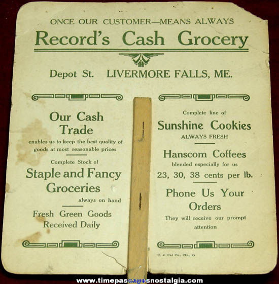 Old Livermore Falls Maine Grocery Store Advertising Premium Hand Fan