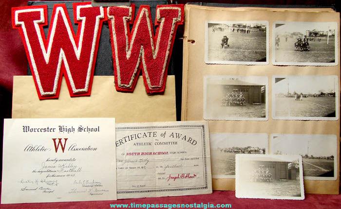 1941 - 1943 Worcester Massachusetts High School Student Football Scrap Book