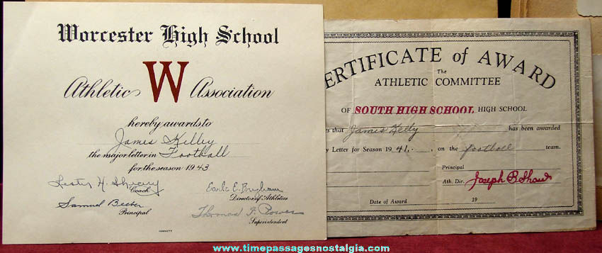 1941 - 1943 Worcester Massachusetts High School Student Football Scrap Book