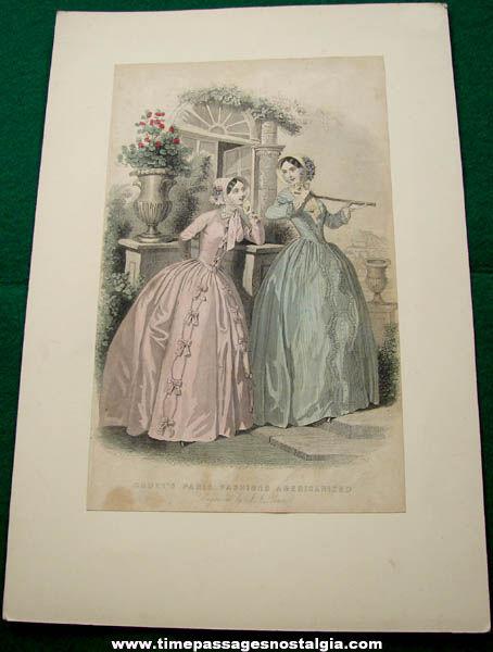 Old J. J. Pease Paris France Fashion Engraving Print