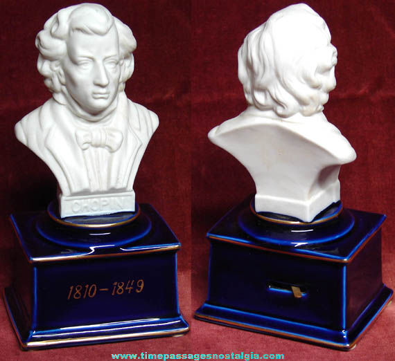 Old Porcelain Frederic Chopin Bust Musical Statue
