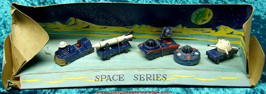 (5) Old Unused Painted Metal Toy Space Vehicles on the Original Packaging