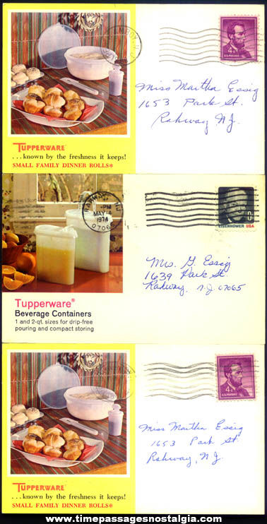 (3) Colorful Old Tupperware Advertising Party Invitation Post Cards
