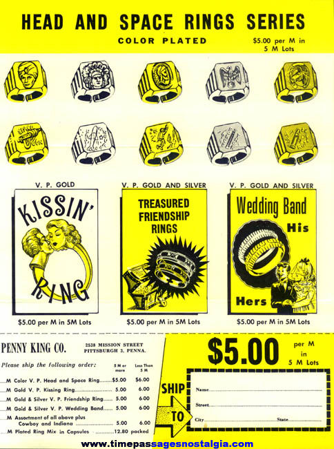1950s Two Sided Penny King Gum Ball Machine Prize Toy Ring Advertising Flyer & Order Form