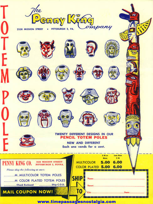 1950s Penny King Gum Ball Machine Totem Pole Prize Advertising Flyer & Order Form