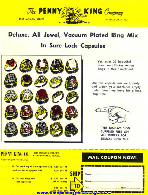1950s Two Sided Penny King Gum Ball Machine Prize Toy Ring and Charm Advertising Flyer & Order Form