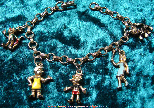 Old Walt Disney Pinocchio Character Charm Bracelet With Metal Charms