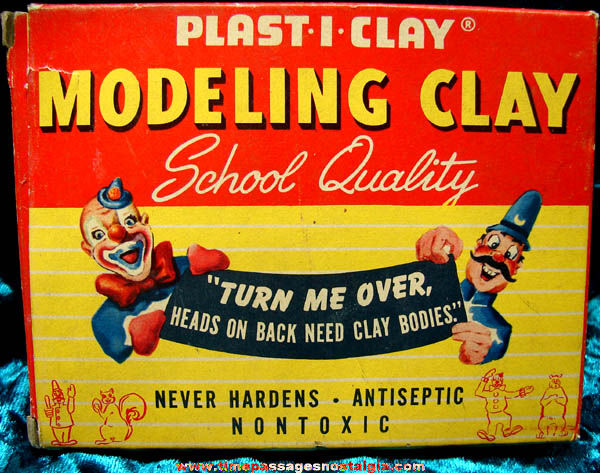 Colorful Old Unused Modeling Clay With Box Comic Characters