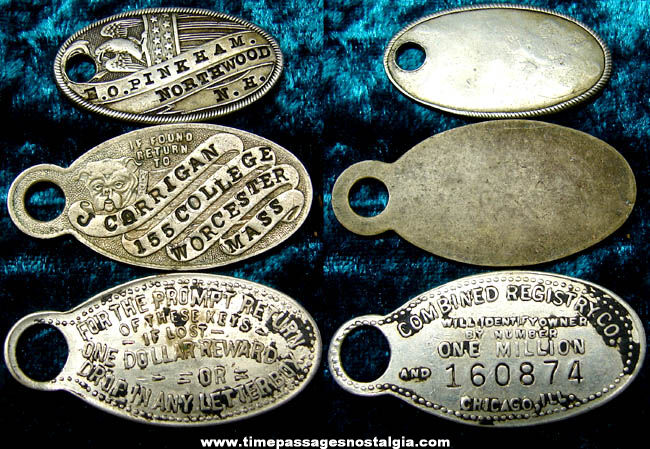 (3) Old Metal Key Chain Identification Charm Tags