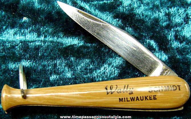 Old Wally Schmidt Milwaukee Wisconsin Baseball Bat Pocket Knife