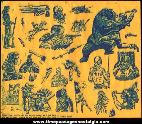 (5) Old Unused Sheets of Davy Crockett Tattoos