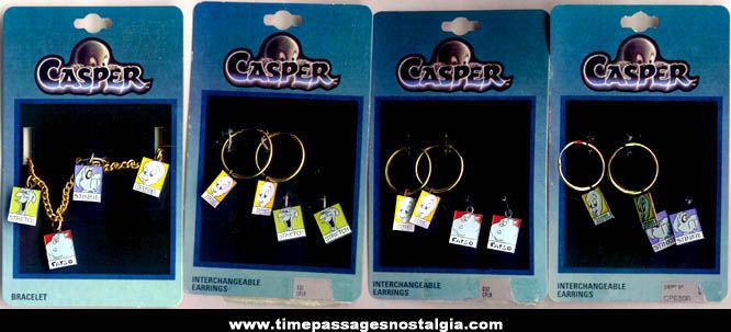 (7) Unused Carded Casper The Friendly Ghost Character Jewelry Items