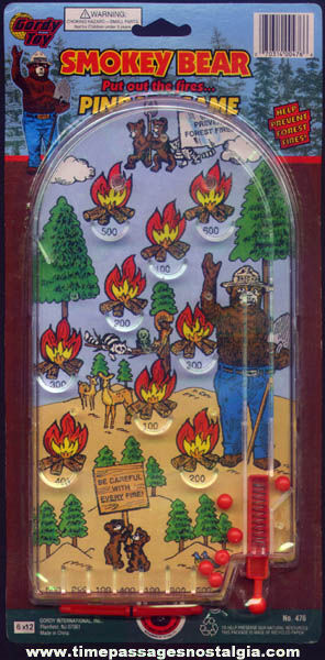 Colorful Unused Smokey Bear Character Toy Pinball Game