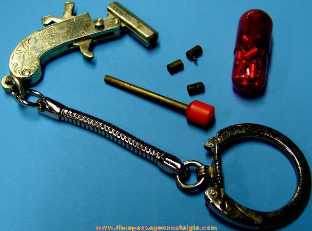 Old Miniature Metal Single Shot Toy Cap Gun With Caps
