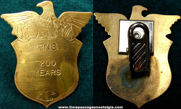 Portsmouth Naval Ship Yard Bicentennial Brass Badge