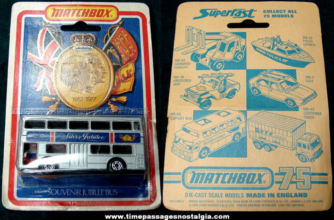 Unused ©1972 Matchbox Superfast Londoner Silver Jubilee Double Decker Bus