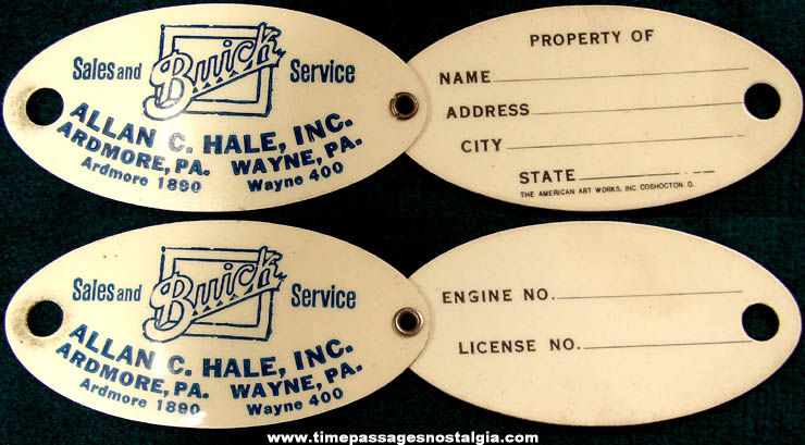 Old Buick Auto Dealership Advertising Folding Celluloid Identification Key Tag