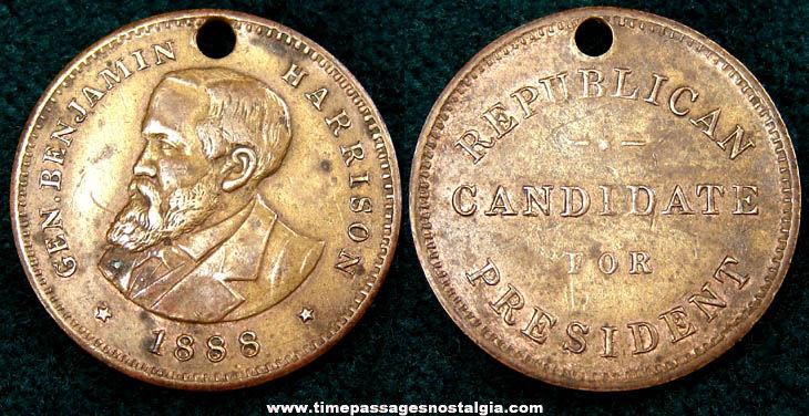 1888 Benjamin Harrison Republican Candidate Presidential Campaign Token Coin