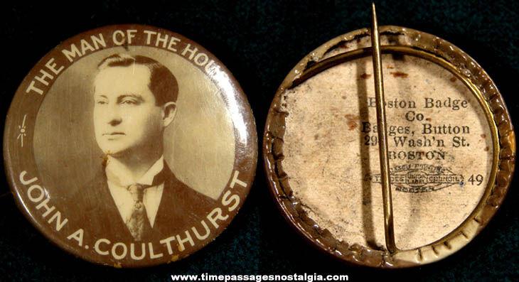 1907 Boston Massachusetts Mayor John A. Coulthurst Political Pin Back Button
