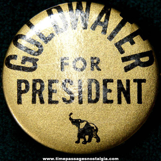 1964 Goldwater For President Political Campaign Pin Back Button