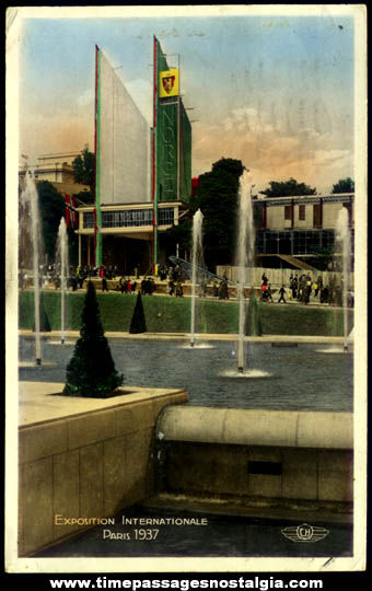1937 Paris International Exposition Real Photo Color Post Card