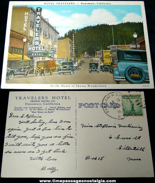 Old Hotel Travelers Dunsmuir California Downtown Post Card