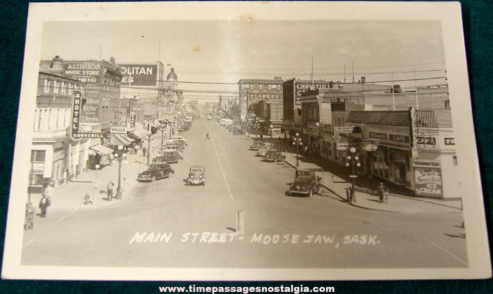 Old Unused Moose Jaw Saskatchewan Main Street Real Photo Post Card