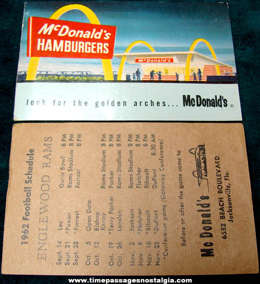 (6) 1960 - 1962 McDonalds Restaurant Advertising Paper Items