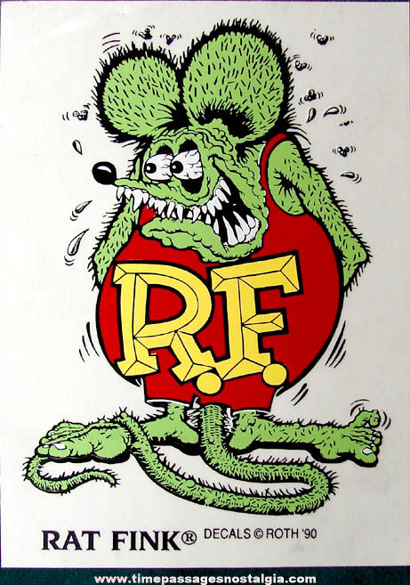 Colorful Unused ©1990 Big Daddy Ed Roth Rat Fink Character Decal