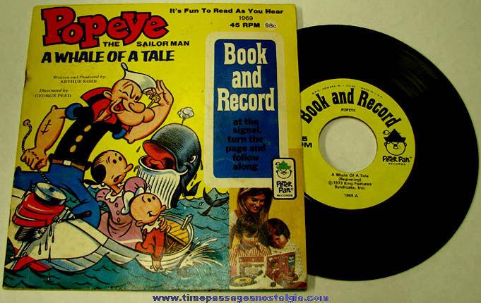 ©1973 Popeye Cartoon Character Peter Pan Record & Book Set