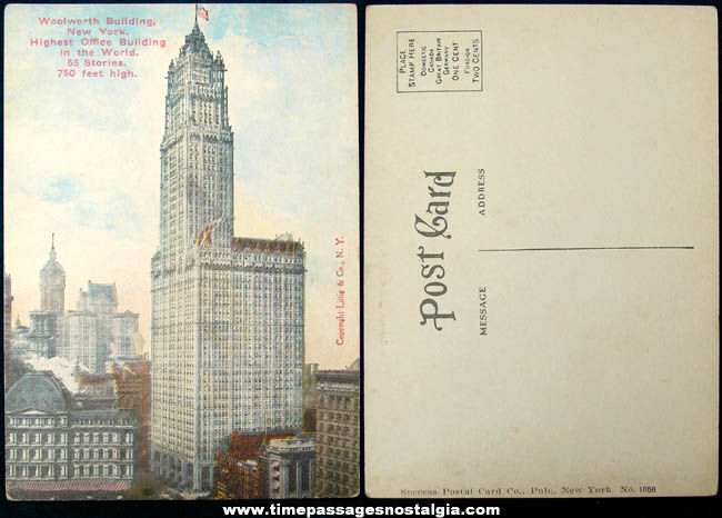 Unused Early 1900s New York City Woolworth Building Advertising Post Card