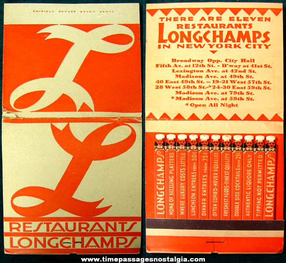 Old Unused New York City Longchamps Restaurant Oversized Advertising Match Book