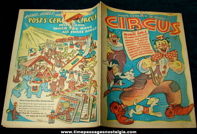 Colorful ©1946 Post Cereal Premium Circus Activity Booklet #1