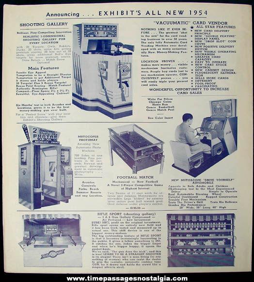 1954 Mike Munves Arcade Game & Machine Catalog Supplement