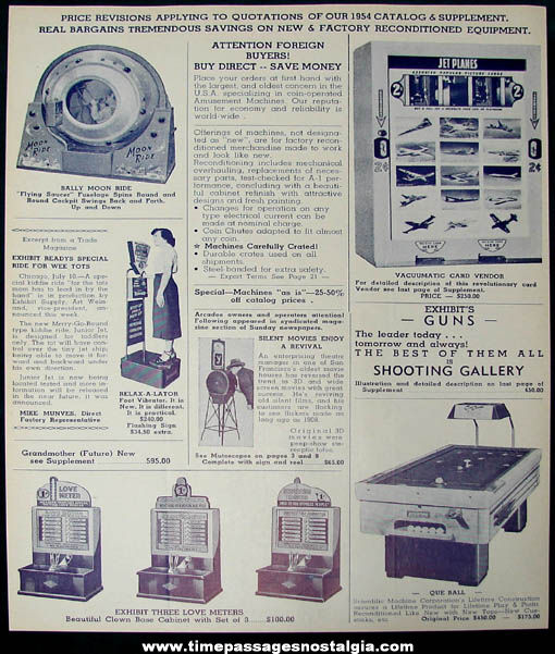 1954 Mike Munves Arcade Game & Machine Catalog Supplement Page