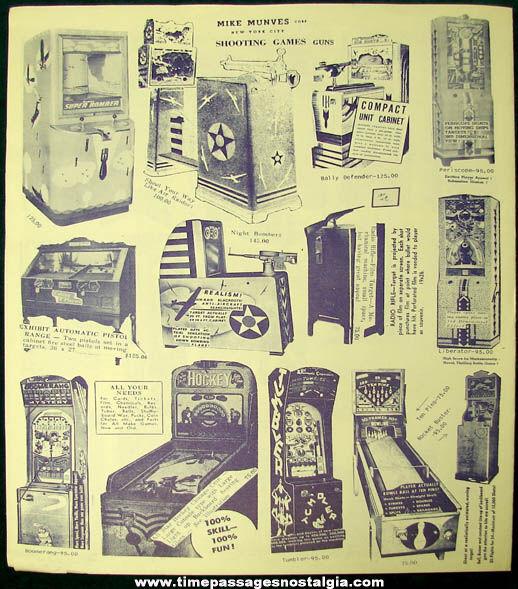 1951 Mike Munves Arcade Game & Machine Catalog Supplement