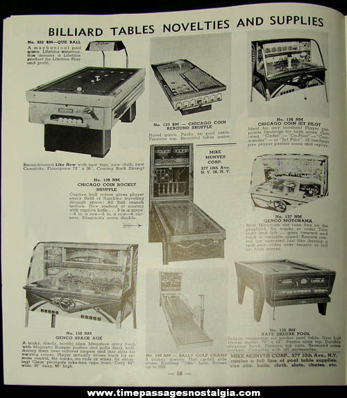 1950s Mike Munves Arcade Game, Machine, & Supply Catalog