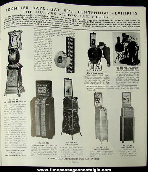 1950s Mike Munves Arcade Game, Machine, & Supply Catalog