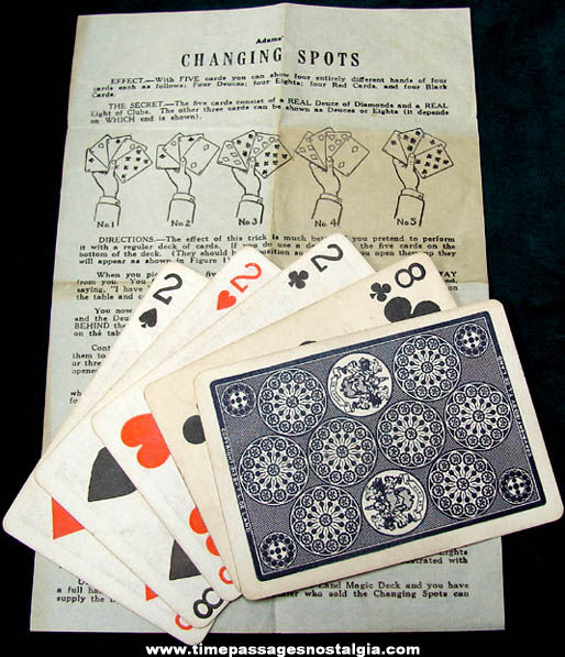 ©1913 Adams Magic Changing Spots Card Trick With Instructions