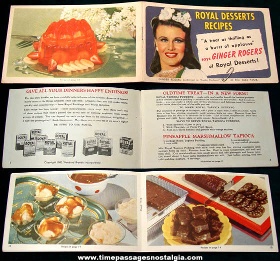 ©1940 Ginger Rogers Royal Desserts Advertising Premium Recipe Booklet